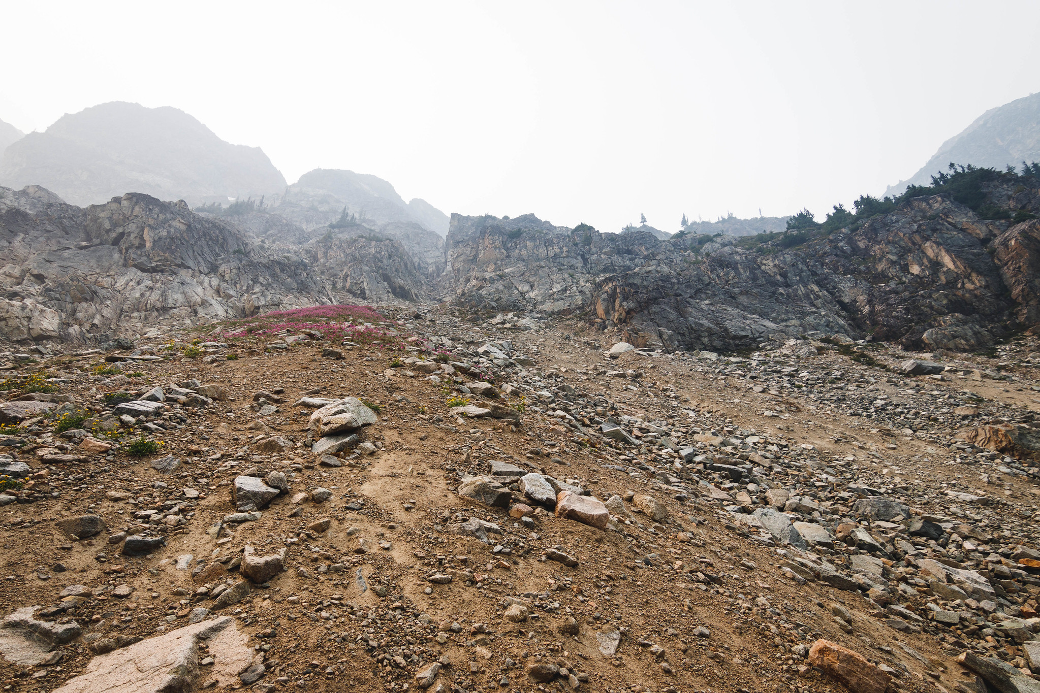 Scree ramp to Silent Lakes