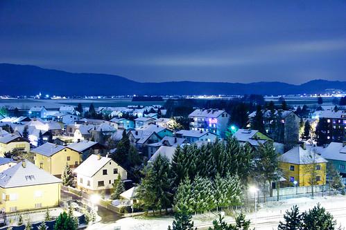 city longexposure houses snow night lights town slovenia slovenija domžale fotocompetition fotocompetitionbronze fotocompetitionsilver