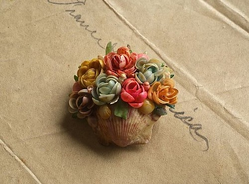 sea shell flower basket brooch