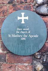 Photo of church of St Matthew the Apostle, Norwich green plaque