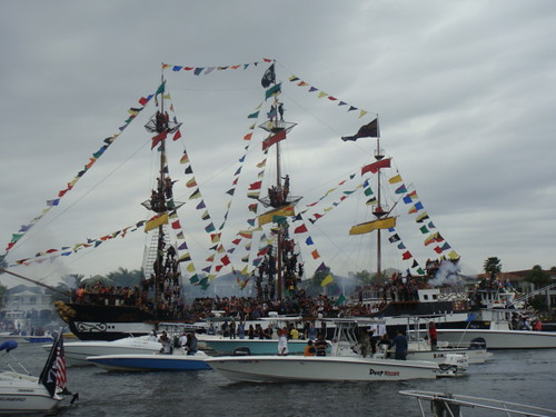 The main pirate ship in the Invasion Gasparilla 2010