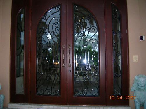 Custom Mahogany Exterior Double Doors Impact Rated A