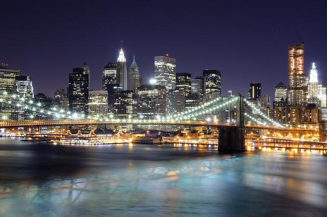Lower Manhattan at Night from the Manhattan Bridge, NYC II