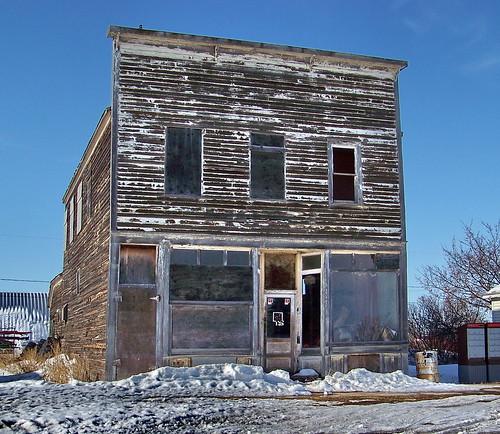 blue white snow canada color colour building eyebrow storefront sk prairie saskatchewan 2010 canadagood thisdecade