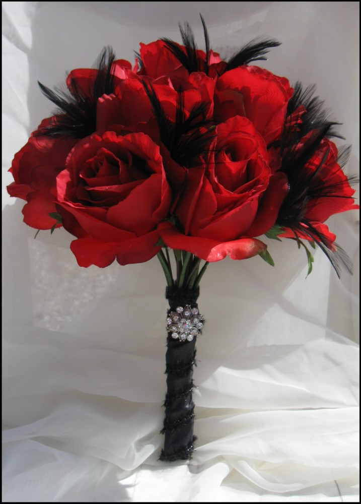 red and black wedding bouquets and black feather scented bridal bouquet 6990