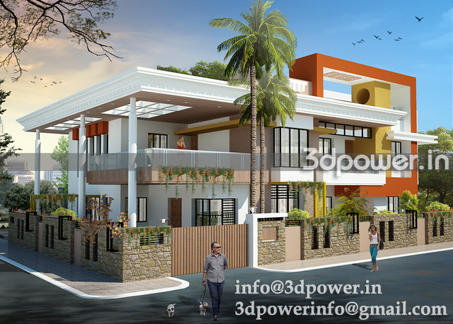 3d image contempary bungalow_3d modeling_3d rendering_www.3dpower.in