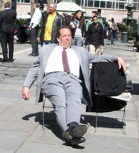 Bryant Park - Businessman Napping
