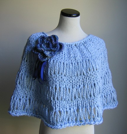 Organic Cotton knit poncho in Alice's blue
