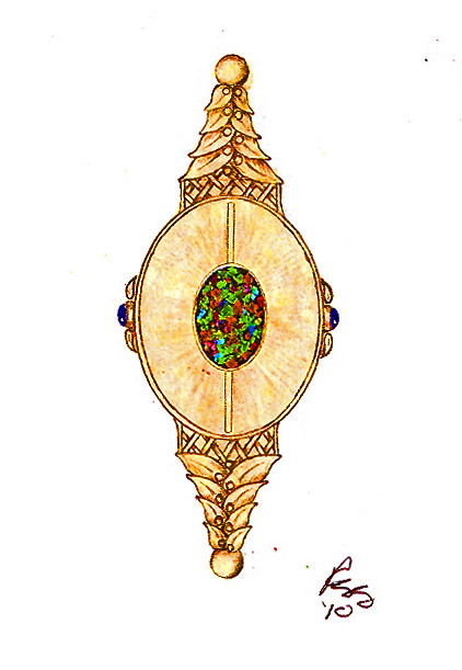 Design Sketch / Rendering for Black Opal Necklace / 3