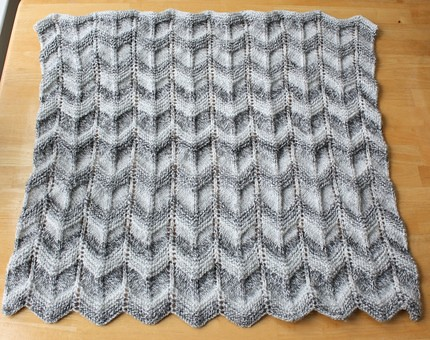 Abc Knitting Patterns Lace Ripple Afghan : handmade Gray striped baby blanket knit in a ripple ...