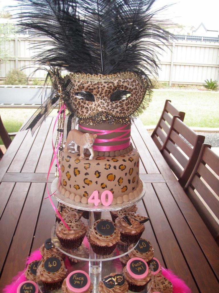 Mossys Masterpiece Katies Cougarmasquerade 40th Birthday Cake