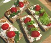 Tomatoes, Herbs and Nuts on Wheat Bread