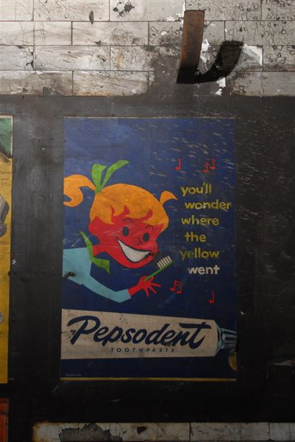 c1959 vintage Pepsodent Toothpaste poster found in Notting Hill Gate tube station, 2010