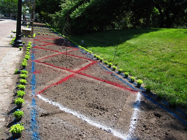 Water-based spray paint is used to outline where plants will be placed.