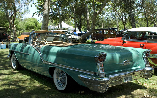 1957 Oldsmobile S 88 Convertible with top down - turquoise - rvl