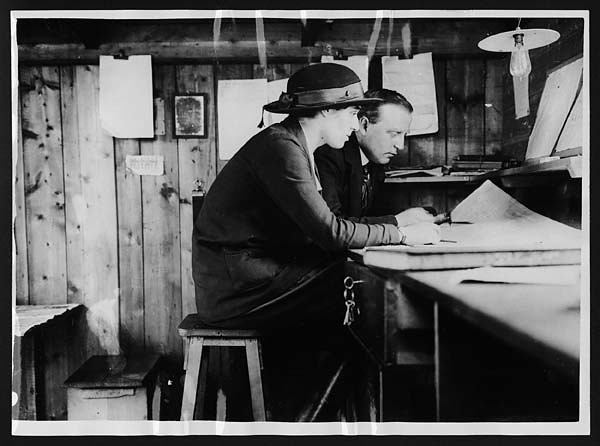 Lady forewoman in her office at the workshops of the lady carpenters in France