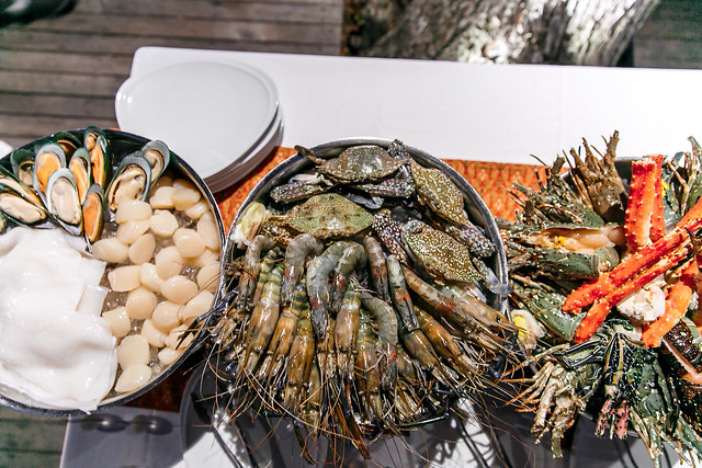 seafood buffet, seafood BBQ, mussel, scallops, shrimp, crab, lobster