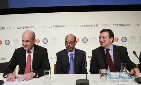 Ethiopian Prime Minister Meles Zenawi offers compromise at Copenhagen conference. He is asking for less money than Africa initially suggested. He is flanked by the Swedish Prime Minister Fredrik Reinfeldt and EU Commission President Jose Manuel Barroso. by Pan-African News Wire File Photos