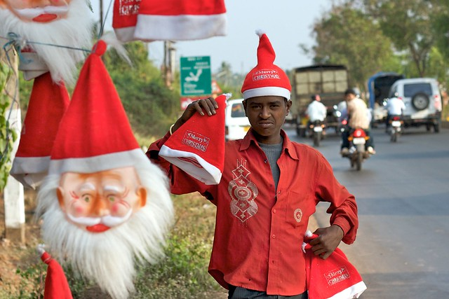 Roadside Santa in Goa, India