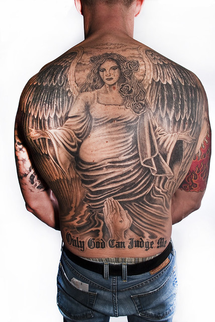 Back Piece Angel tattoo by Donald Purvis