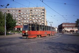WPK Katowice Tramwaj, Linia 4  Gliwice.Konstal 105N Tram no. 373. May 1991