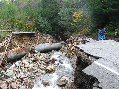 Highway 20 washout and landslide, 2003