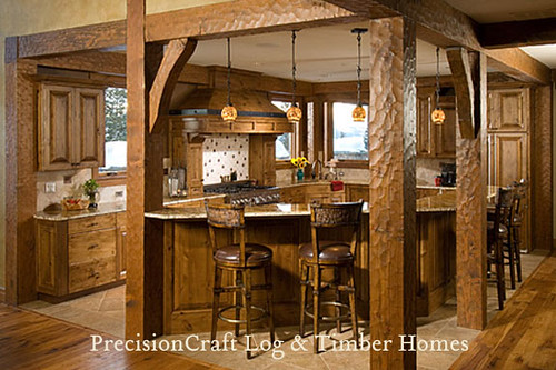Custom Kitchen In A Timber Frame Home Precisioncraft Timber Frame Homes