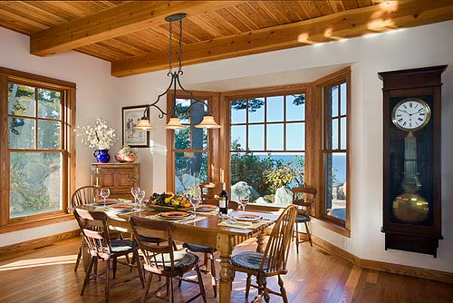 the tuscany iii timber frame home dining room