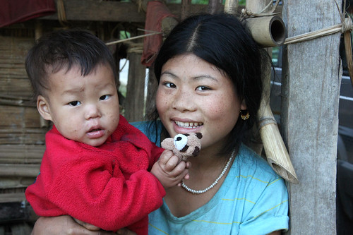 Portrait of a Nishi mother and her child, Arunachal Pradesh