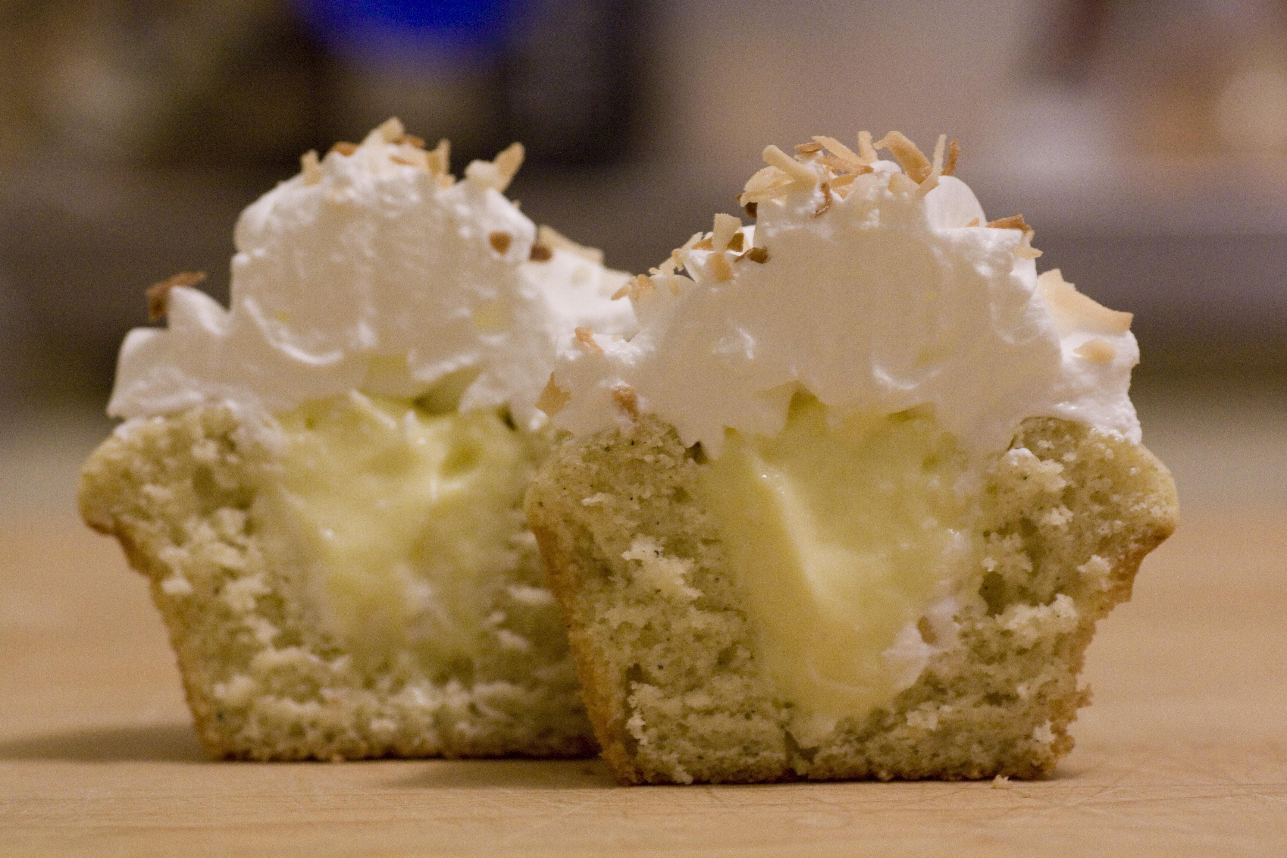 Cardamom cupcakes with vanilla custard filling and marshmallow ...
