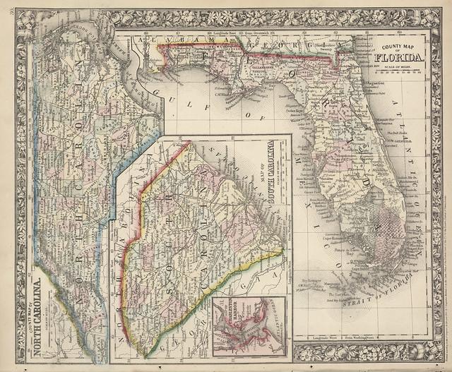 Map Of North Carolina South Carolina And Florida  1866
