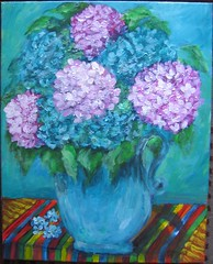 hydrangea(1.0), flower(1.0), purple(1.0), painting(1.0), lilac(1.0), lavender(1.0), flower bouquet(1.0), still life(1.0),