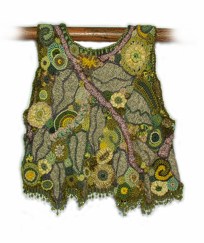 OOAK freeform crochet vest - Crystal Grove - back view
