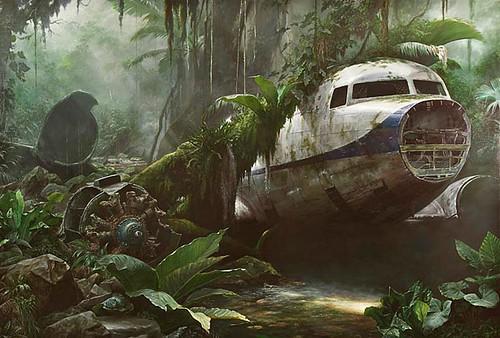 Jonathan Wateridge, Jungle Scene With Plane Wreck, 2007 by kraftgenie