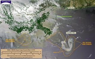 Deepwater Horizon Oil Spill – MODIS/Aqua Detail (with interpretation), May 9, 2010