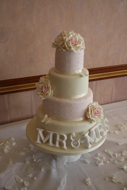Vintage Wedding cake with Roses and MR MRS by Cotton and Crumbs