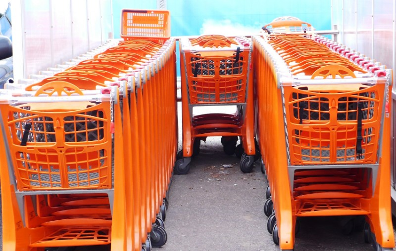Shopping carts in Migros, Langendorf