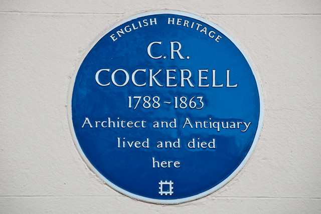 Charles Robert Cockerell blue plaque - C. R. Cockerell 1788-1863 architect and antiquary lived and died here