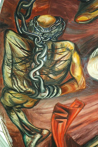Chained and tortured prisoner, naked, Father Hidalgo in chains, José Clemente Orozco Mural, Governor's Palace, Guadalajara, Jalisco, Mexico by Wonderlane
