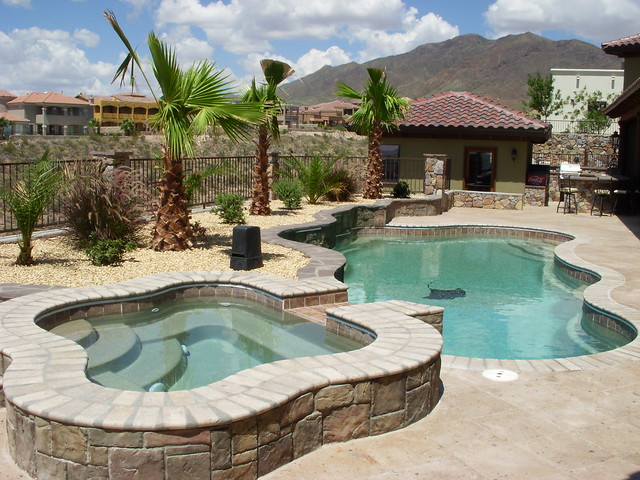 Laguna 55a with regal spa viking pools free form for The garden pool el paso