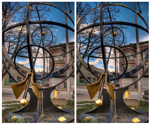 urban sculpture ny art stereoscopic stereophotography 3d crosseye upstate saratogasprings sundial zodiac chacha depth hdr 3dimensional crossview crosseyedstereo 3dphotography sitespecificart 3dstereo takenoffthestreet zodiacsundial