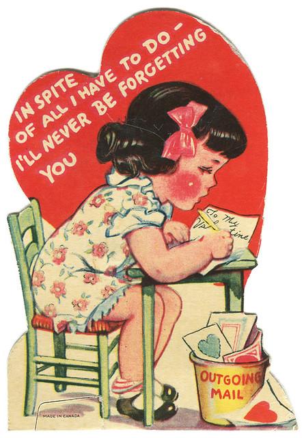 vintage valentine girl mail card