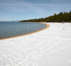 lake tahoe snowy beach