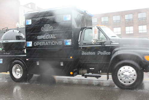"Boston Police Department, Special Operations, S.W.A.T. team vehicle with ""The Bango"" on back."
