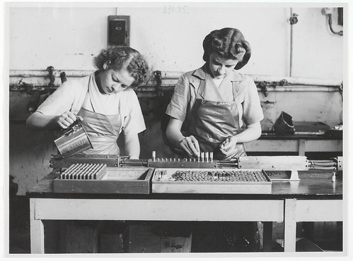 Lipstick production at Colgate-Palmolive, c. 1940s, by unknown photographer