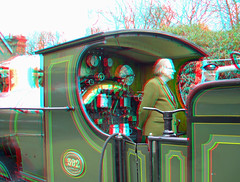 View of cab on Steam Locomotive No. 592 in anaglyph 3D