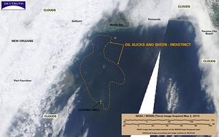 Deepwater Horizon Oil Spill – MODIS/Terra Detail (with interpretation), May 2, 2010