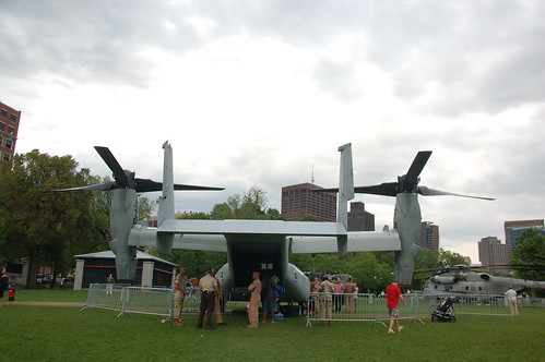 Marine Week Boston, 2010: Bell-Boeing MV-22B Osprey seen from aft as it sits on Boston Common