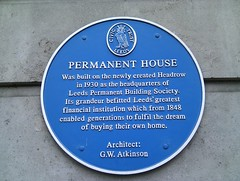 Photo of Permanent House, George Walter Atkinson, and Leeds Permanent Building Society blue plaque