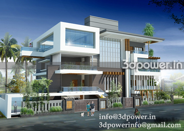 3d exteriour bungalow_www.3dpower.in_perspective of bungalow_villa_www ...
